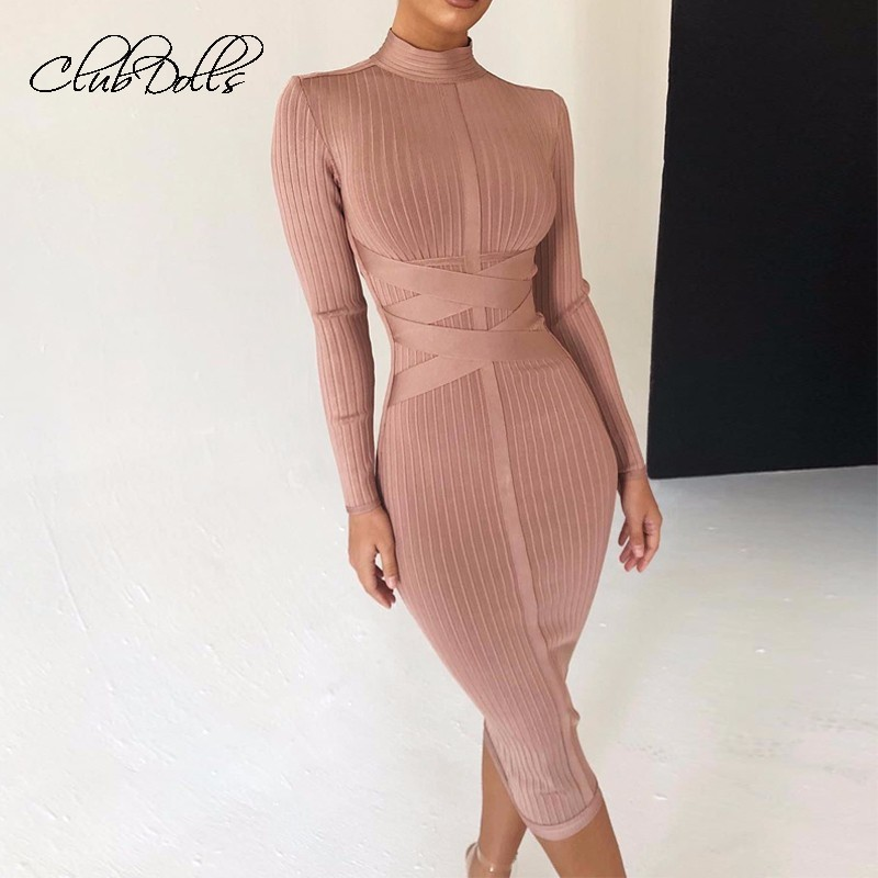 Sexy Long Sleeve   Dress   Party   Cocktail     Dresses   Slim Waist Pencil Knit Mid   Dress   Bandage Bodycon Ribbed Knit   Dresses   2019