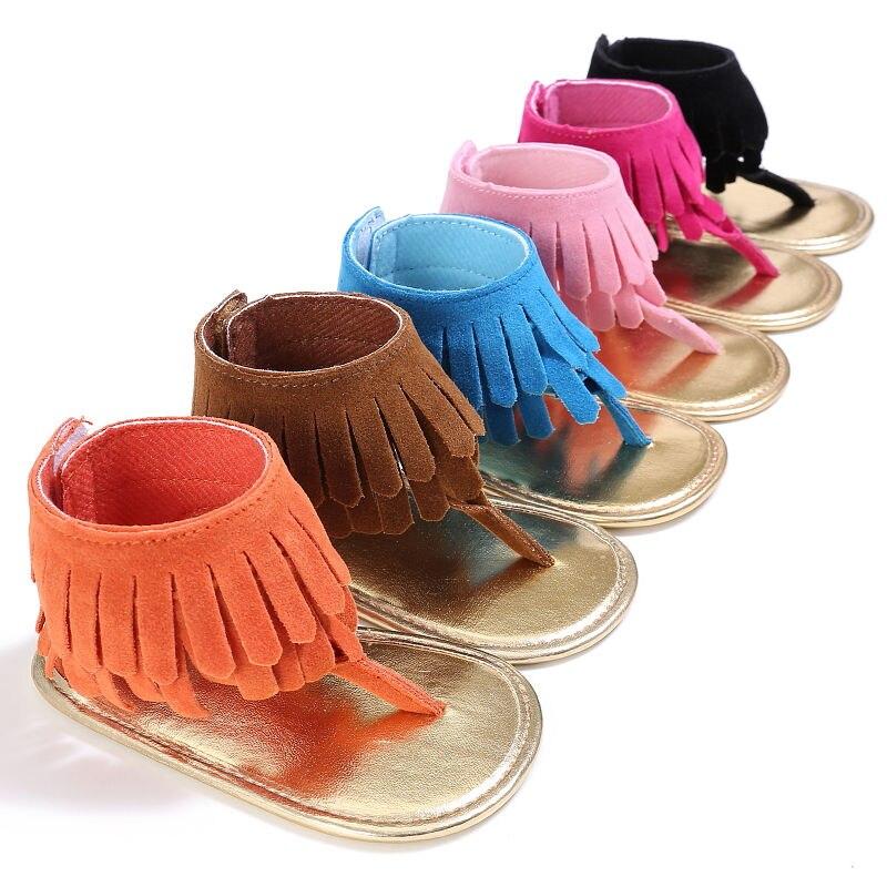 Pudcoco Girl Sandals 0-18M Baby Girls Kids Sandals Tassel Anti-Slip Summer Crib Shoes Soft Sole Prewalkers