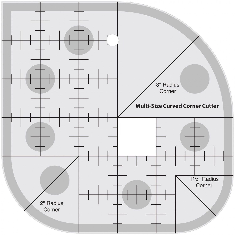 NON slip Multi-size curved corner cutter Quilt Ruler NEW Round 1.5 2 3 radius corner #MSSD-01SNON slip Multi-size curved corner cutter Quilt Ruler NEW Round 1.5 2 3 radius corner #MSSD-01S
