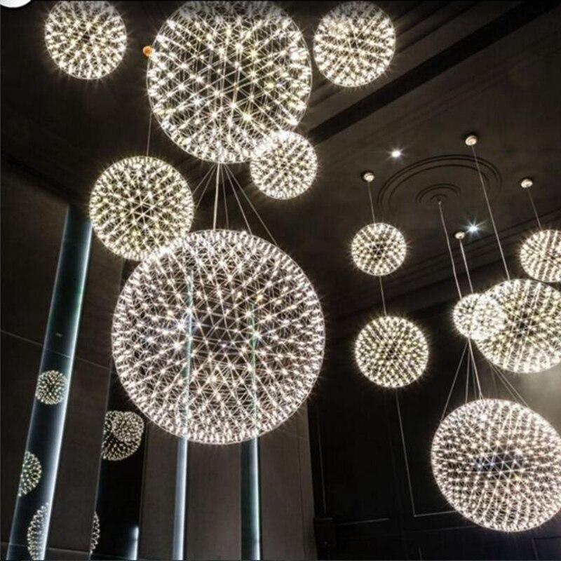 Lukloy moderno fogo de artifício led pingente luzes lustres iluminação de aço inoxidável grande bola lâmpada pendurada para salão do hotel lustre