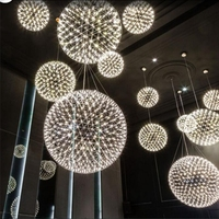 Modern Creative Firework LED Pendant Lights Stainless Steel Large Ball Lighting Fixture Hanging Lamps for Hotel Hall Decoration