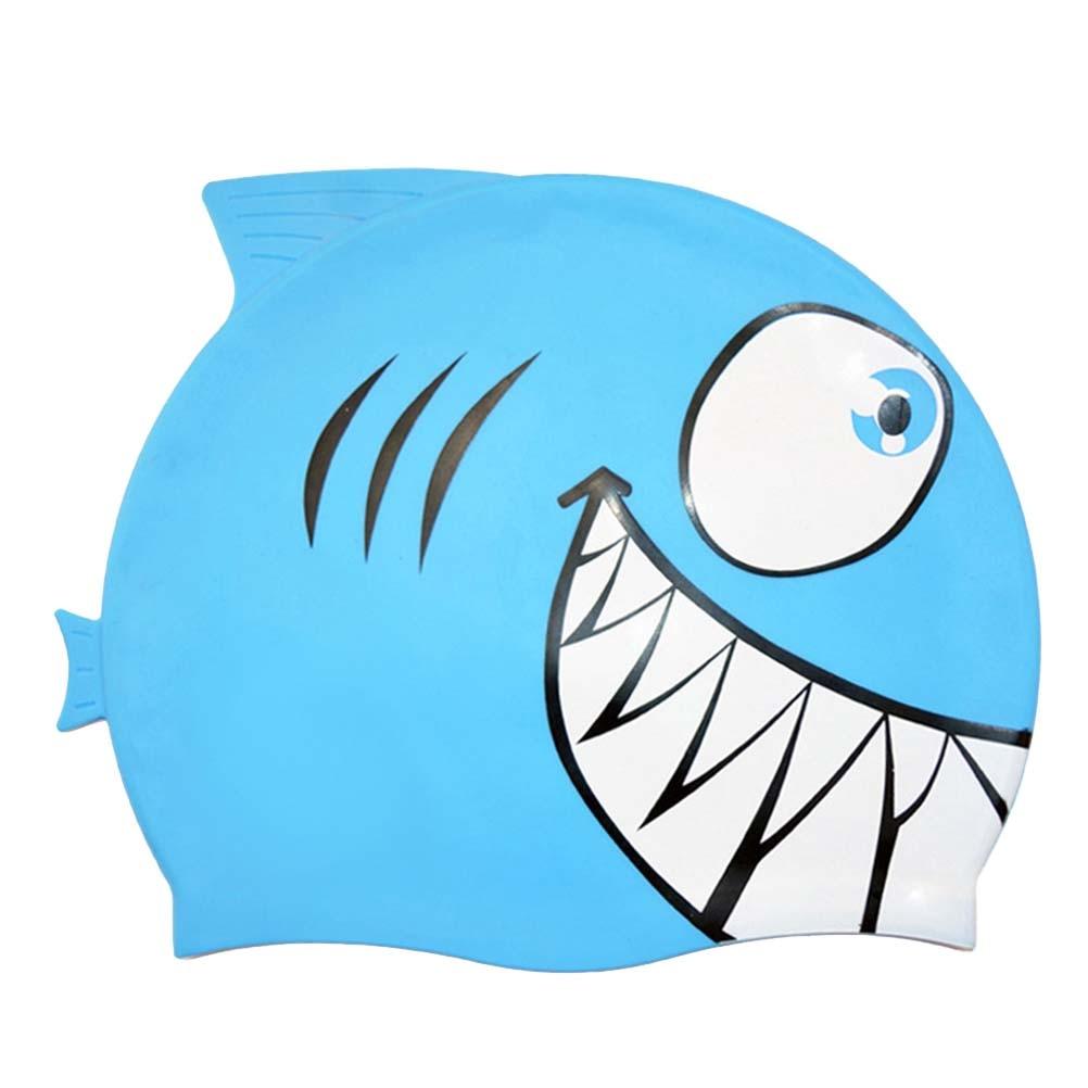 Kid Swimming Cap Silicone Swim Hat Cute Cartoon Shark Elastic Waterproof Hat US