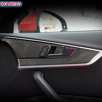 Carbon Fiber sticker Interior Door Handle Panel Trim Cover decals For Audi a4 b9 R S4 Accessories 2016 2017 2019 styling