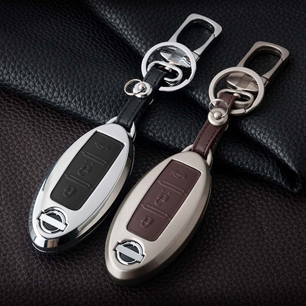 Car Key Cover Remote Control 3 Buttons Cover Case Key Shell Car Remote Key Zinc Alloy+Leather For Nissan Qashqai J10 J11
