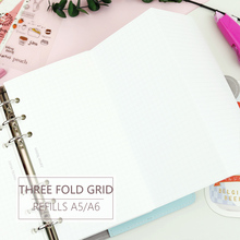MyPretties 20 Sheets Grid Refill Papers A5 A6 Three Fold Filler for 6 Hole Binder Organizer Notebook Planner