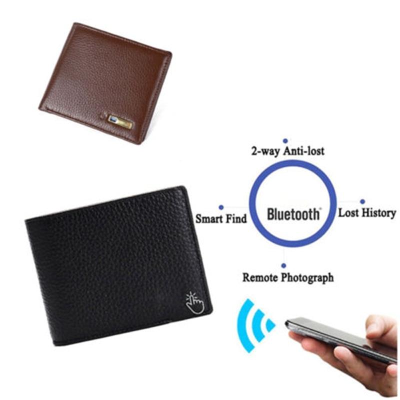 Genuine Leather Bluetooth Smart Wallet Anti Lost GPS Locator Tracker Alarm Purse