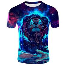 ZACOO Fashion Summer 3D Animal Lion Printing Short Sleeve T-shirt for Men Women