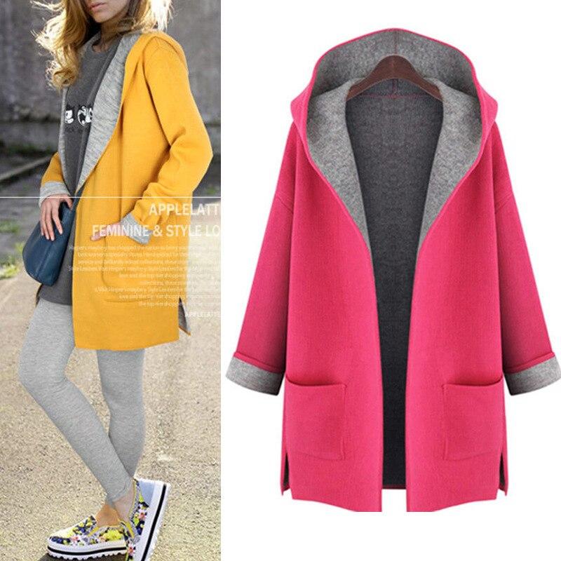 Women's   Trench   Coat Hooded Color Block Plus Size Coat