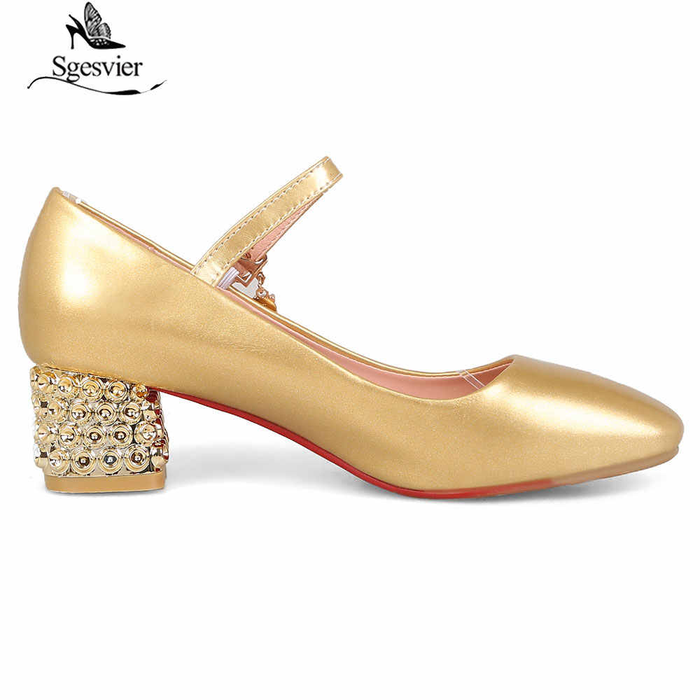 Sgesvier 2019 ฤดูใบไม้ผลิหนาหนึ่งปุ่มหัวเข็มขัดปั๊มแฟชั่น Party รองเท้าผู้หญิง Gold Silver Square Toe OL รองเท้า B912