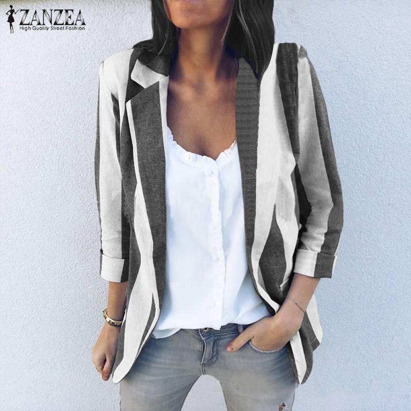 S 5XL ZANZEA Women Elegant Work OL Blazers Fashion Ladies Slim Blazer Suits 2020 Spring Casual Striped Coat Jackets Tops Female