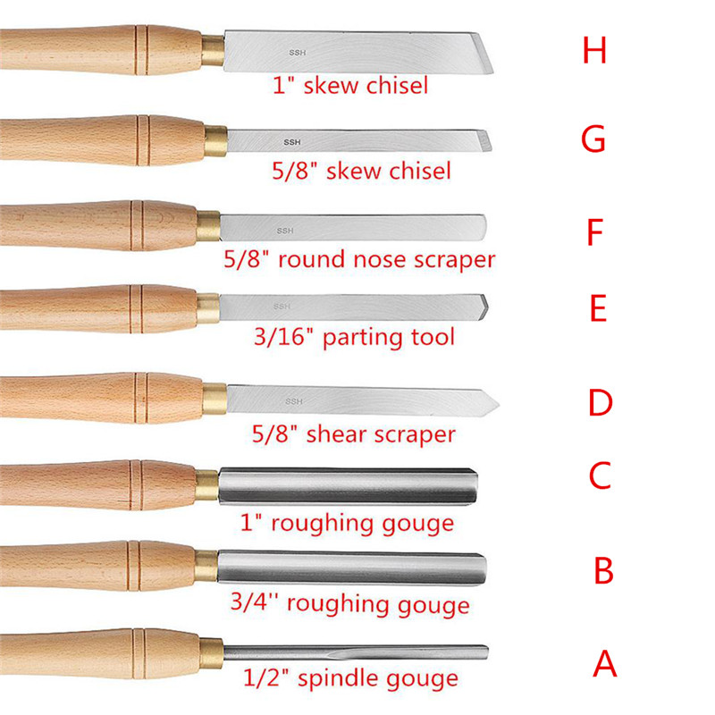 8pcs/set New High Speed Steel Lathe Chisel Wood Turning Tool With Wood Handle Woodworking Tool 8 Types Durable