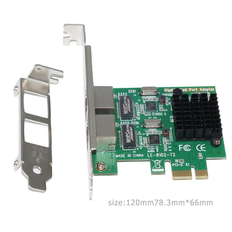 PCI Express PCI-E Network Card 2 Ports 1000Mbps Gigabit Ethernet 10/100/1000M RJ-45 LAN Adapter Converter Network Controller