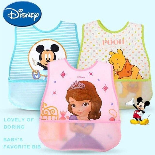 Baberos de bebé de Disney a prueba de agua Burp ropa Mickey Minnie dibujos animados niños paños de algodón niños Baberos Accesorios