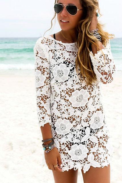 Women Boho Lace Crochet Bathing Suit Casual Long Sleeve V-Neck Beach Loose Mini Dress Sundress
