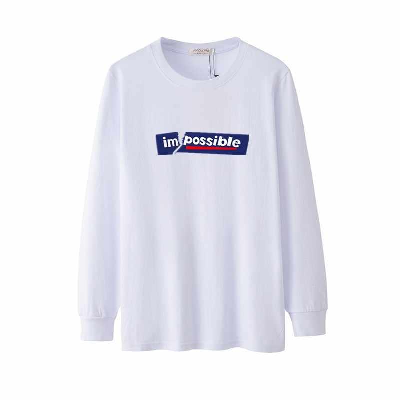 Tee Shirt Heren Lange Mouw Gedrukt Impossiple Brief Grappig Een Stuk Februari 14 Vriendje Vet Gift Spor Oversized T-shirt mannelijke