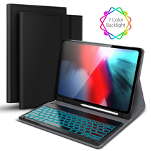 Buy for iPad Pro 12.9 inch 2018 Tablet Case Separable French Colorful Backlight Bluetooth Keyboard Leather Fundas with Pen Holder directly from merchant!