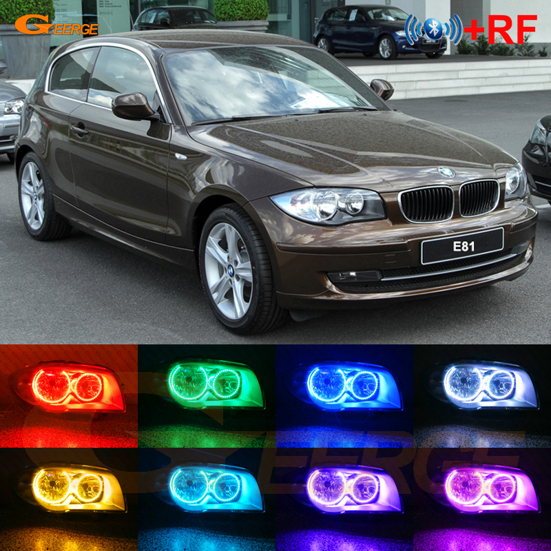 US $50 11 10% OFF|For BMW 1 Series E81 2007 2011 Halogen headlight RF  Bluetooth Controller Multi Color Ultra bright RGB LED Angel Eyes kit-in Car