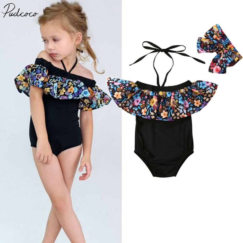 Bowknot Bottom Swimwear Bikini Set Oasiss Baby Kid Girls 2pcs Summer Swimsuit,Ruffle Sleeveless One Shoulder Top