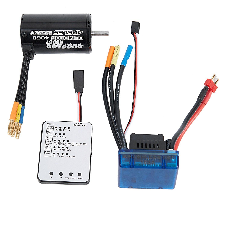 SURPASS HOBBY 4068 2050KV Brushless Motor 120A Brushless ESC LED Programming Card Combo Set for 1