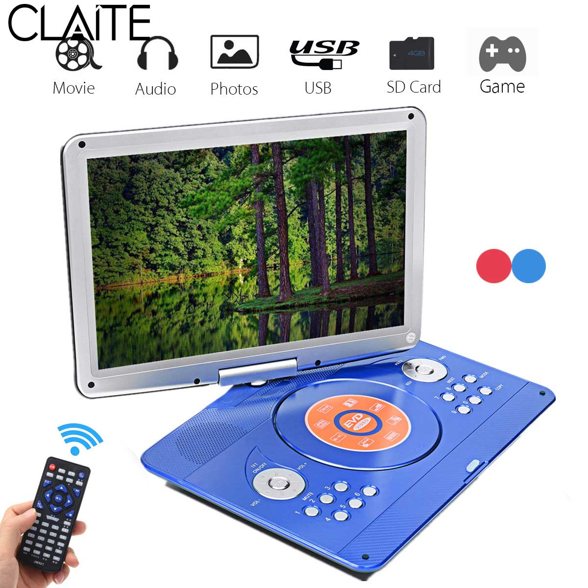 14 inch Portable DVD Player Rotatable Screen Multi Media DVD for Game TV Function Support MP3 MP4 VCD CD Player for Home and Car