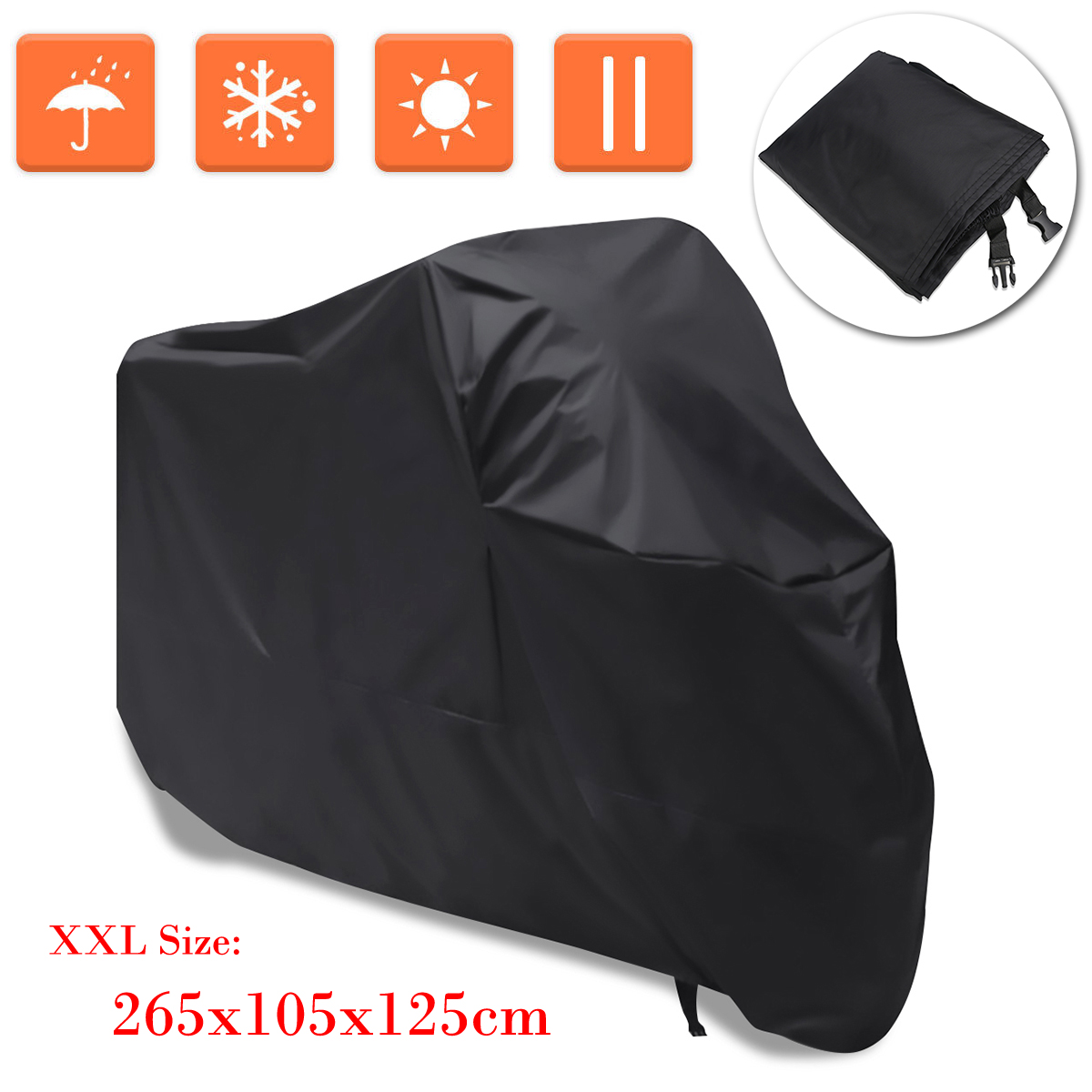 265 * 140cm Waterproof Motorcycle Cover Motorbike ATV Scooter Dustproof Anti Sun Snow Protective Cover Motor Outdoor Protector