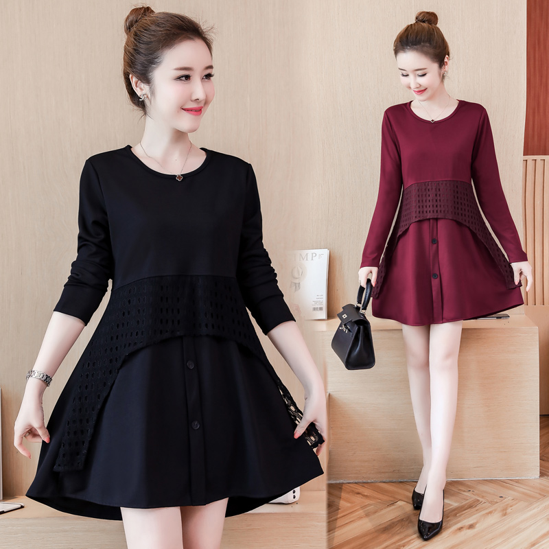 Detail Feedback Questions about Plus Size Clothes 5XL 4XL Women Fashion  Long Sleeve Belly Peplum Dress Patchwork Hollow Out Red Black Button Shirt  Dress ... c60d0ea9afb3