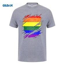 GILDAN LGBT Gay Pride Rainbow Flag Ripped T-Shirt gildan living in america argentine roots argentina flag shirt