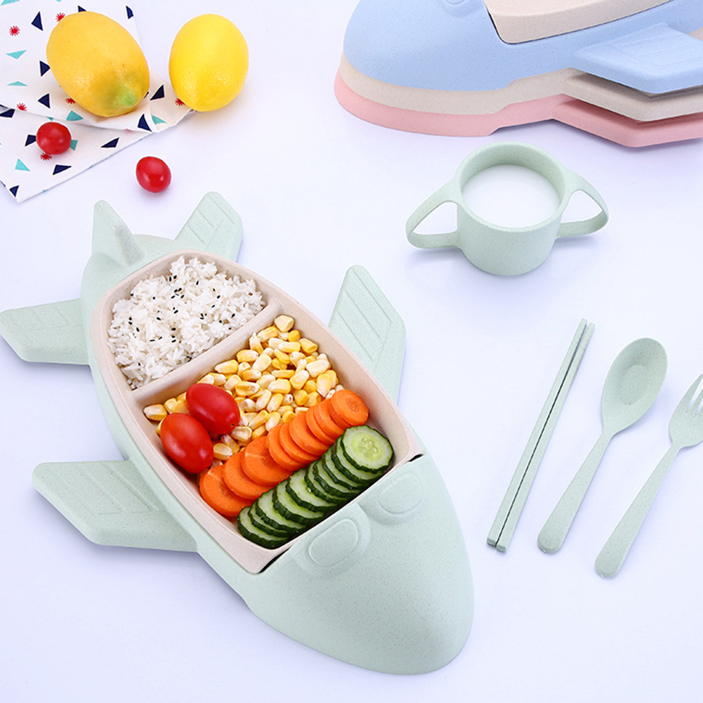 Cartoon Airplane Tableware Set 5Pcs For Kids Child Beige Children Food Dish Cup Spoon Fork Home Cutlery Toddler Dinner Set image