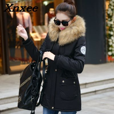 Winter   parkas   big fur collar hooded coat jackets fall winter slim women thicken cotton warm outerwear female jacket long coats