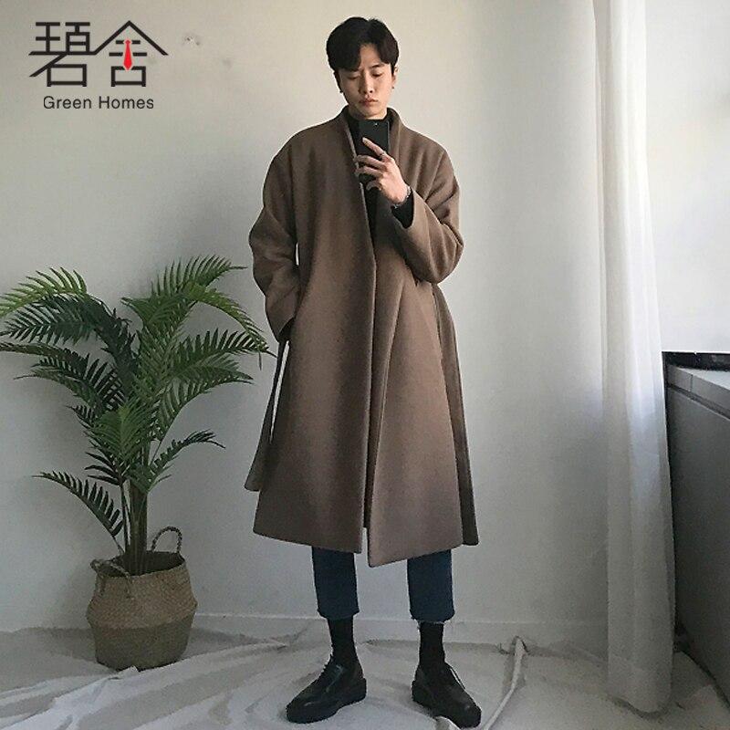 D'hiver Hommes Occasionnel Black Moyen Jeunes Laine Manteau longueur Mode Des 2018 Casual Pardessus gray Tendance Lâche De Long Avec wFqSEF