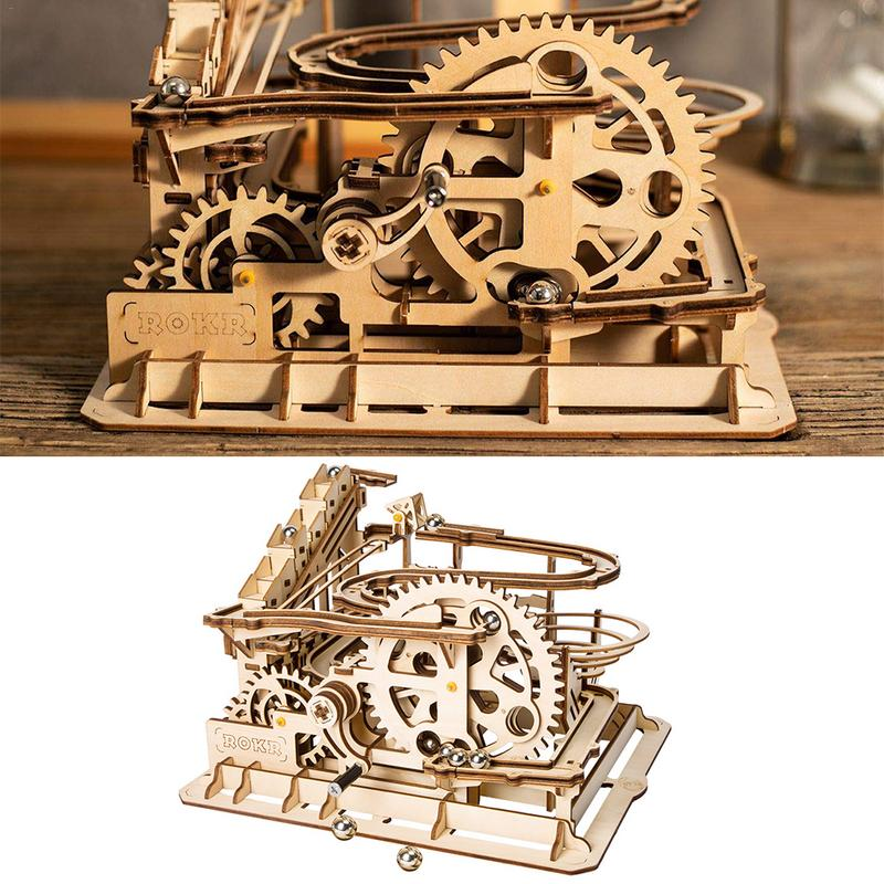 Puzzle 3D Waterwheel Coaster en bois infrarouge Ray coupe modèle outil mécanique équipement jouet bricolage enfants 3D manuel assemblage