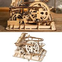 3D Puzzle Waterwheel Coaster Wooden Infrared Ray Cutting Model Tool Mechanical Gear Toy DIY Children's 3D Manual Assembly