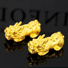 Vietnam alluvial gold pixiu gold plated 3D soild pixiu for DIY bracelets jewelry making(China)