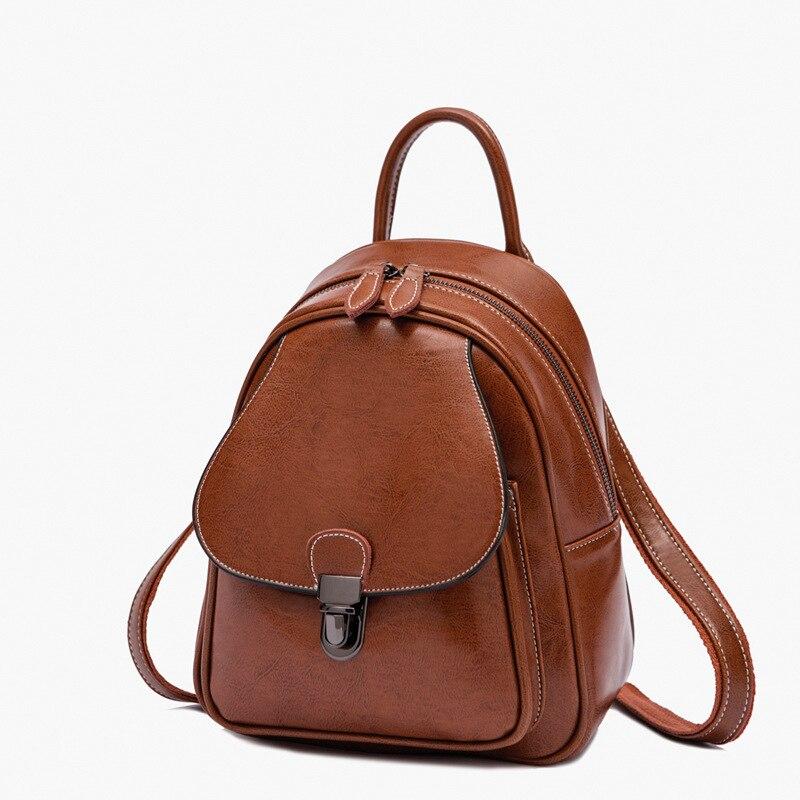 Haute qualité femmes sac à dos petite école sac à dos sac à dos Design de mode sac à dos décontracté femme en cuir véritable sac de voyage