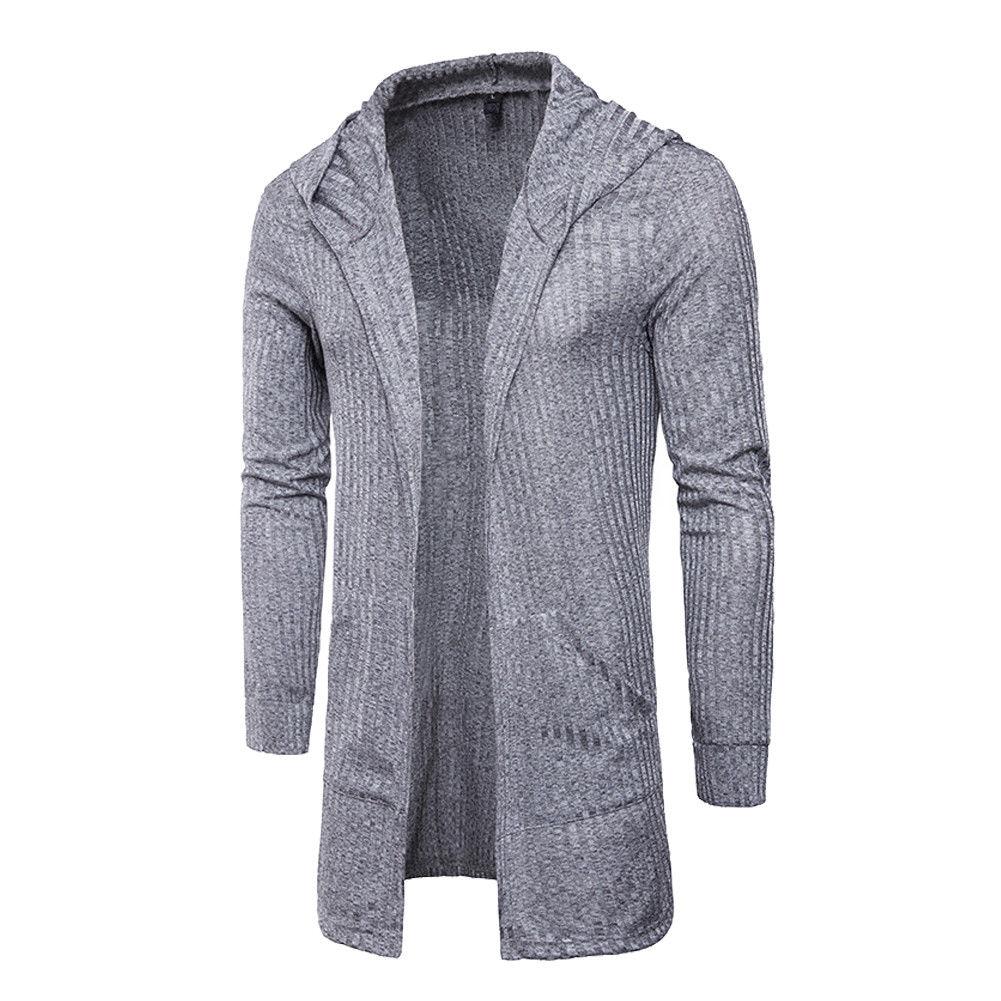 Sweater Cardigan Men 2018 Male Brand Casual Slim Sweaters Men Solid Hooded Pockets Men's Sweater Plus Size XXXL 3