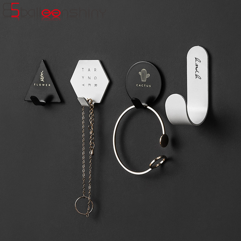 BalleenShiny Iron Art Hook Nordic Style Round Triangle Adhesive No Nail Storge Hanger Door Canbinet Wall-mounted Coat Hook