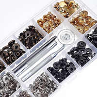 40 Set Metal Snap Fastener Press Stud Buttons Leather Craft With Fixing Tools Kit Storage Box For DIY Supplies