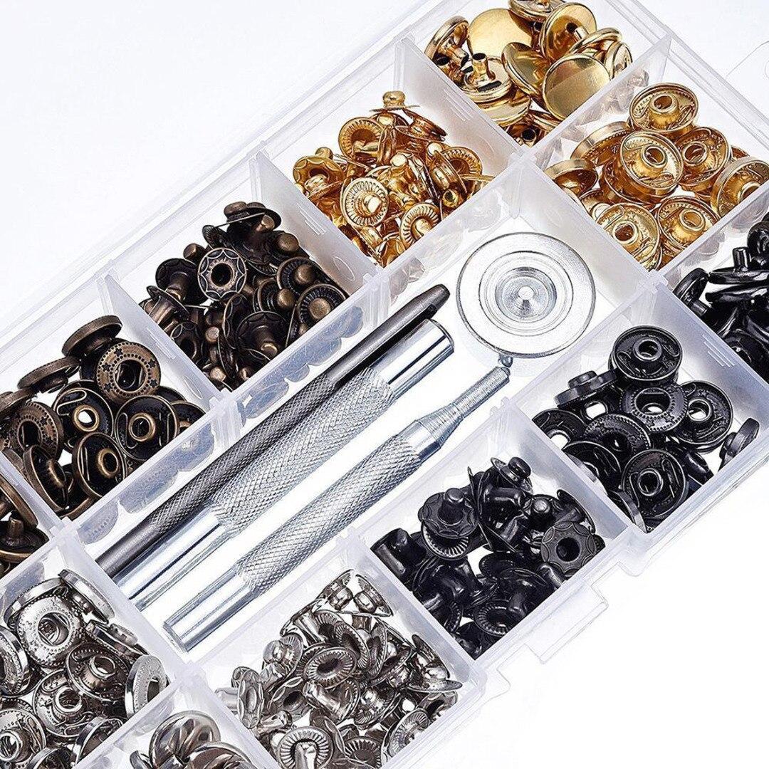 40 Set Metall Druckknopf Presse Stud Tasten Leder Handwerk Mit Befestigung Werkzeuge Kit Lagerung Box Für DIY Liefert