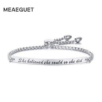 4e16d58bcc22 Las mujeres pulsera de acero inoxidable de inspiración brazalete ajustable  grabado ella creyó que ella podría joyería estampada a mano