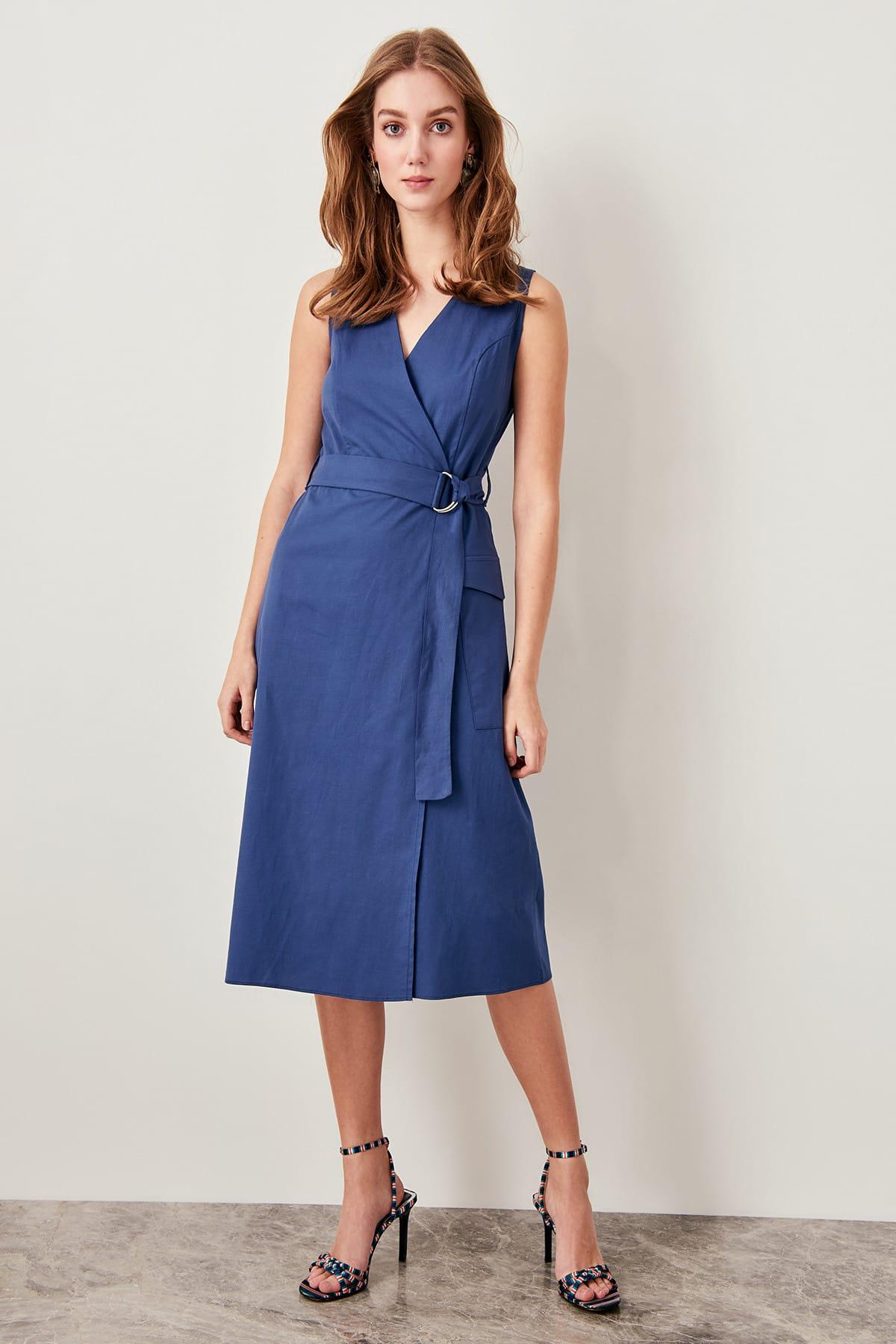 Trendyol Detailed Dress Belt Indigo Cream Green TWOSS19FG0045