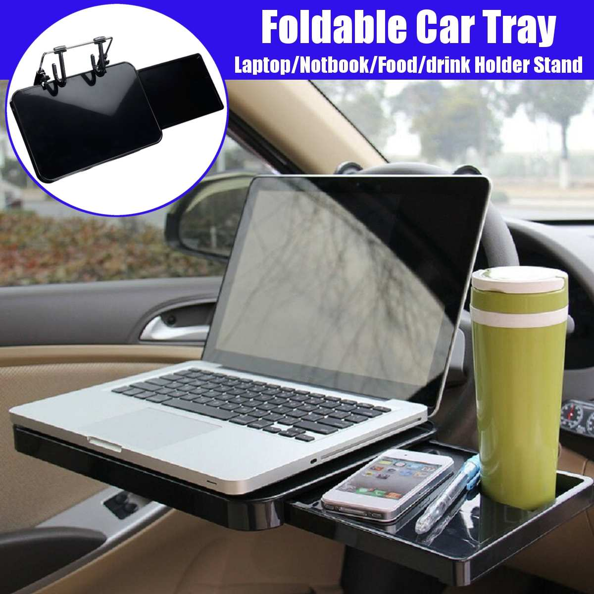 Car Steering Wheel Back Seat Tray Built-in Drawer Laptop Notebook Food Drink Holder Stand Car Cup Holder Dining Table