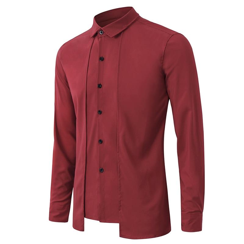Для мужчин платье рубашка с длинным рукавом социальных бизнес однотонная Мода Формальные рубашки для мальчиков осень 2019 г. повседнев