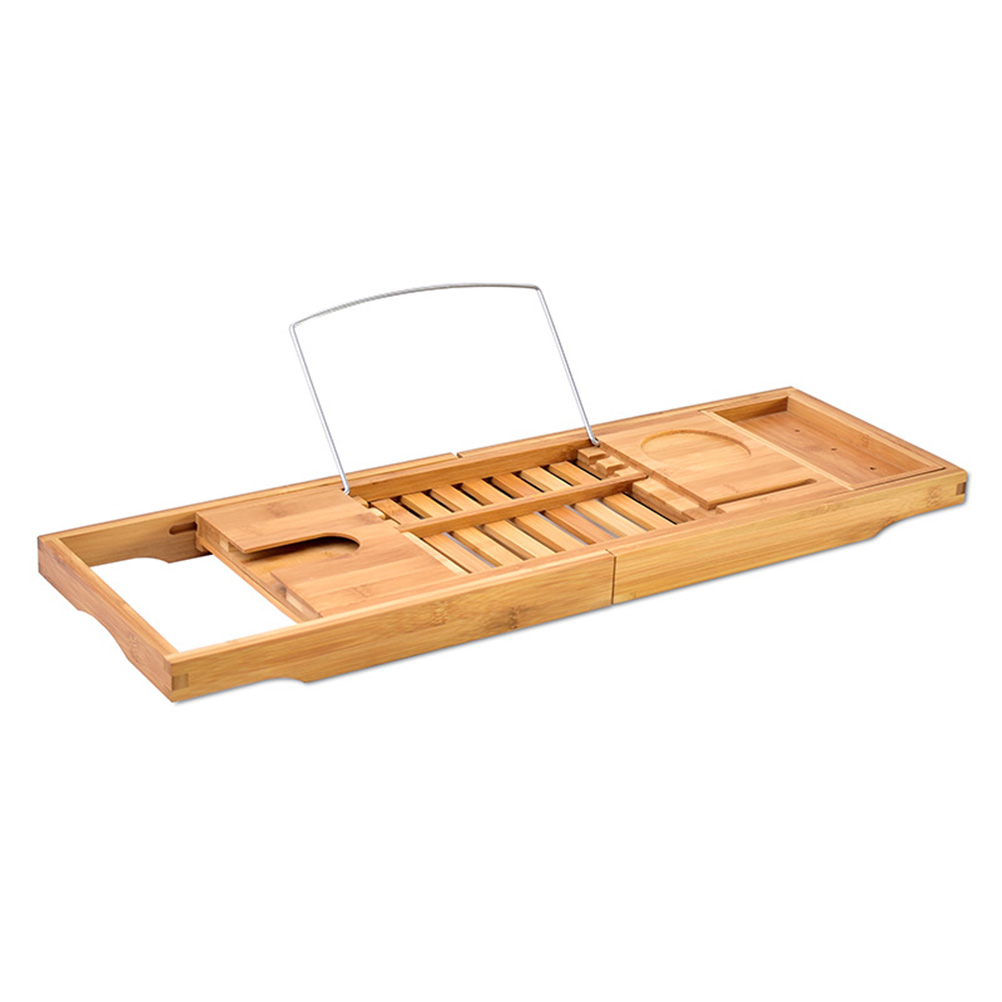 Bamboo Bathtub Tray with Extending Sides Reading Rack Tablet Holder Cellphone Tray and Wine Glass Holder