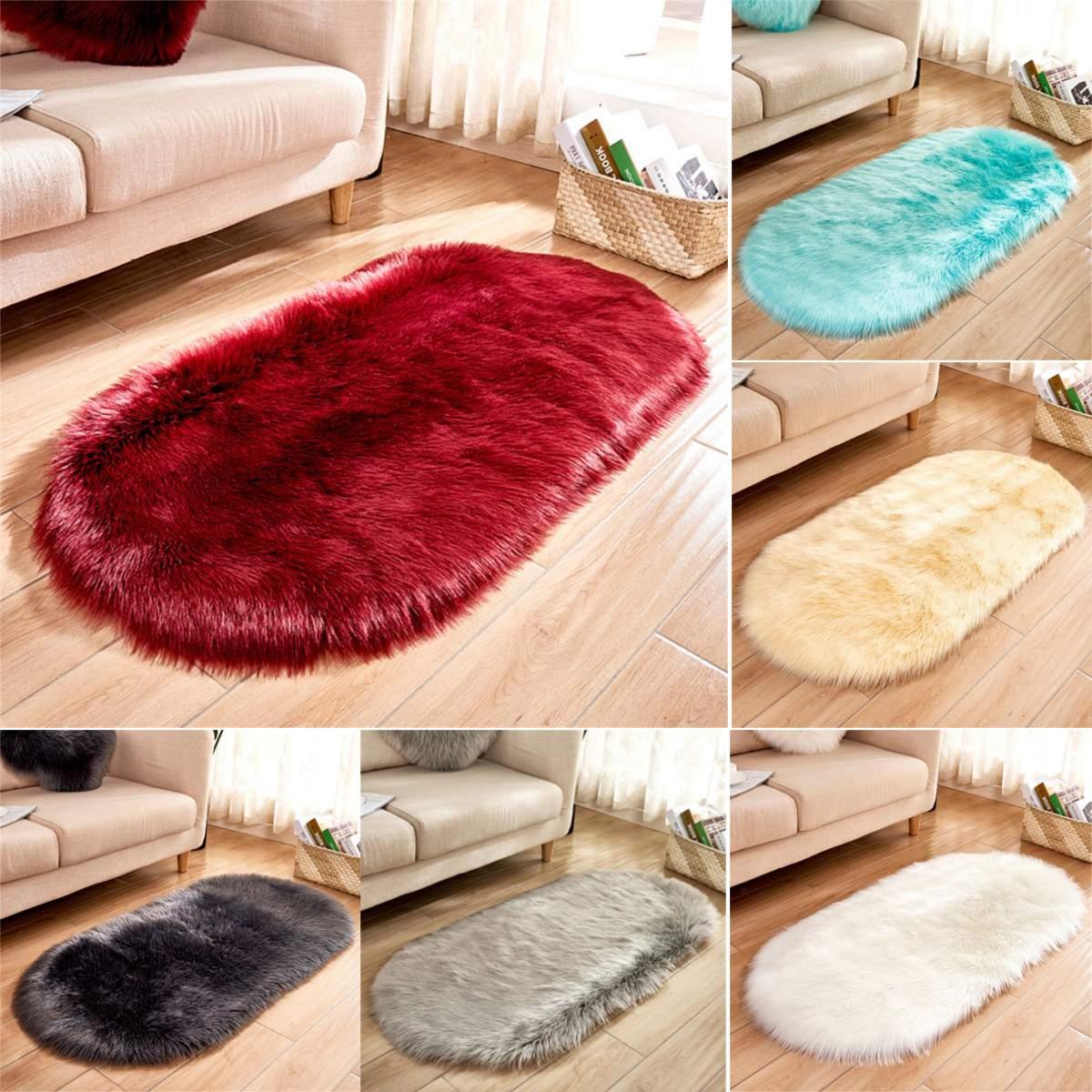 7 Colors Non Slip Oval Plush Area Rug Living Room Carpet