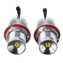 1 Pair 40W LED 12-30V Car Front Light Angel Eyes Marker Bulb Error Free with Wiring Harness Headlight For BMW E39 E60