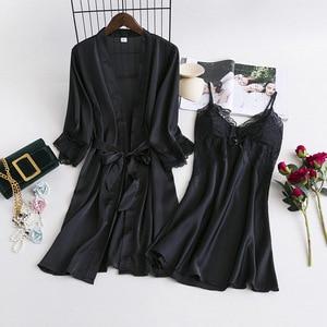 Image 3 - MECHCITIZ Women Robe Gown Sets 2 Piece Nightdress Bathrobe Summer Sleepwear Female Satin Kimono Silk Robes Sleepwear Lounge Suit