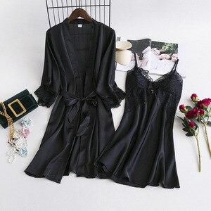 Image 3 - MECHCITIZ damska suknia ustawia 2 sztuka koszula nocna szlafrok lato bielizna nocna kobiet satynowe Kimono jedwabne szaty piżamy salon garnitur
