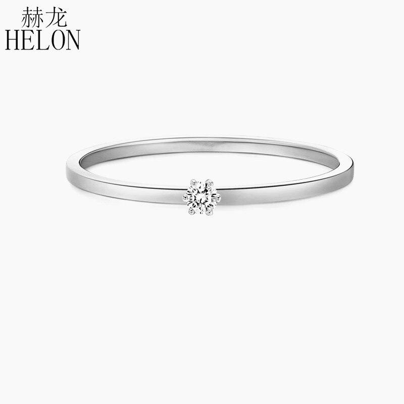 Solide 14 k Blanc Or (AU585) SI/H Round cut 100% Diamants bague de fiançailles À La Mode Beaux Jewely Élégant Unirque Cadeau bague de fiançailles