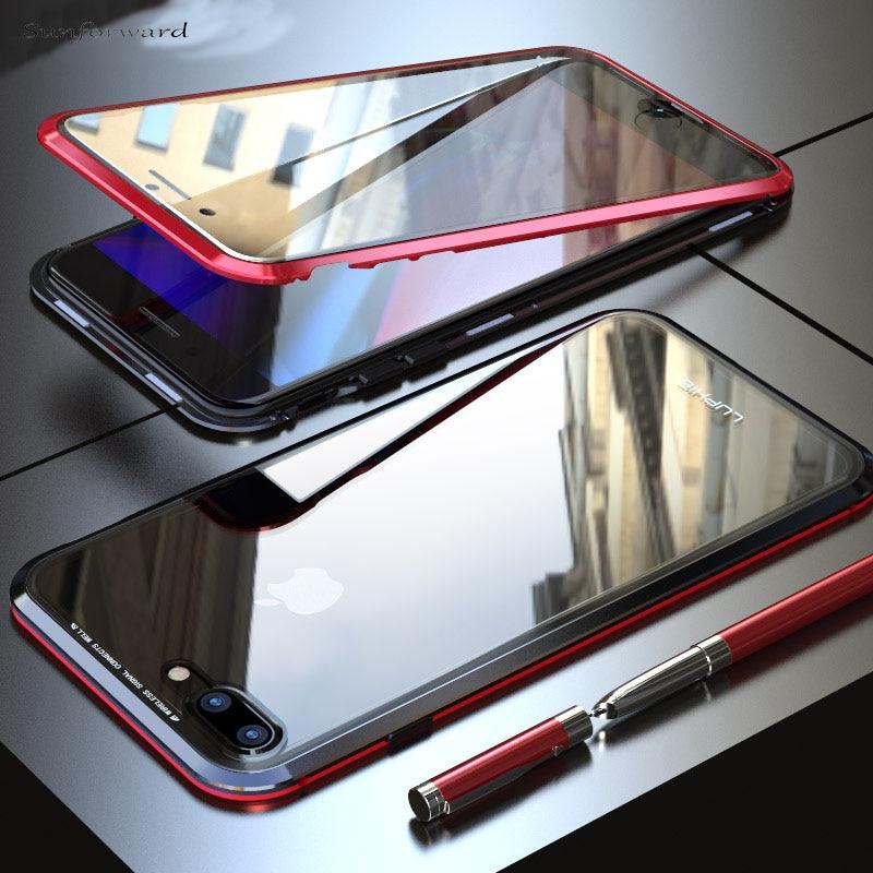 Magneto magnético de adsorción de vidrio de Metal caso para iPhone X XR XS Max cubierta paquete para iPhone 8 7 6 6 S Plus imán casos