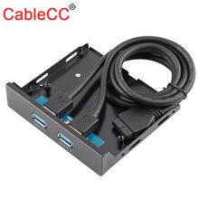 Cablecc USB 3 0 2 Port Front Panel 20pin for 3 5 Floppy Bay internal usb 3 1 gen 1 type c usb 3 0 port hub front panel w 20 pin extension cable for desktop pc case 3 5 floppy bay mount